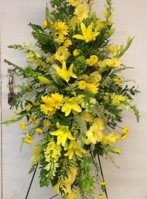 Beautiful Yellow Flower Easel Arrangement