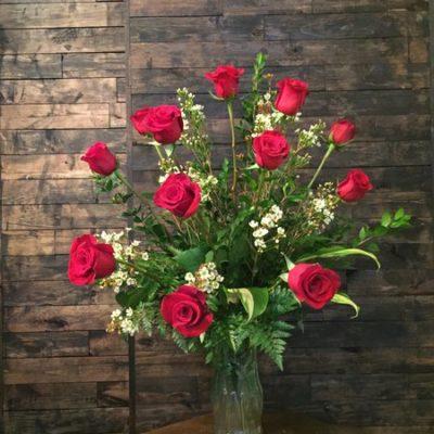 Dozen Roses European Arrangement