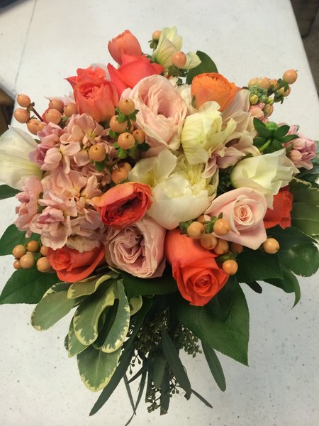 orange ranuncules white peonies blush garden roses