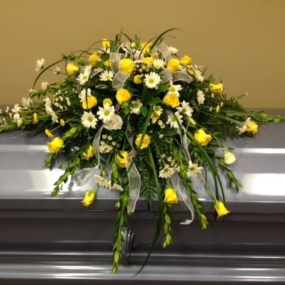 Wright Flower Company Yellow Rose and White Daisy Casket Spray