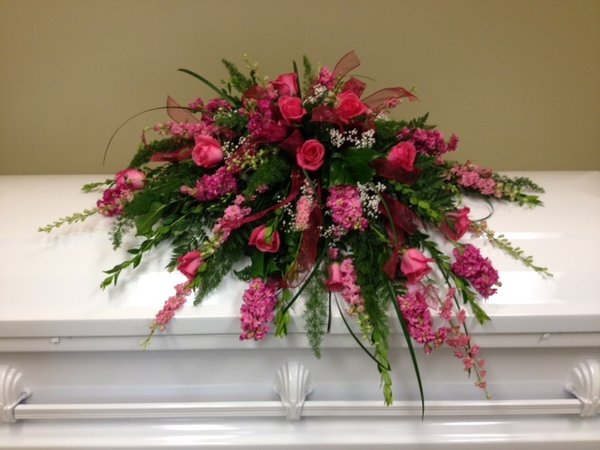 Pink roses and pink spring flowers casket spray wright flower company pink roses and pink spring flowers mightylinksfo