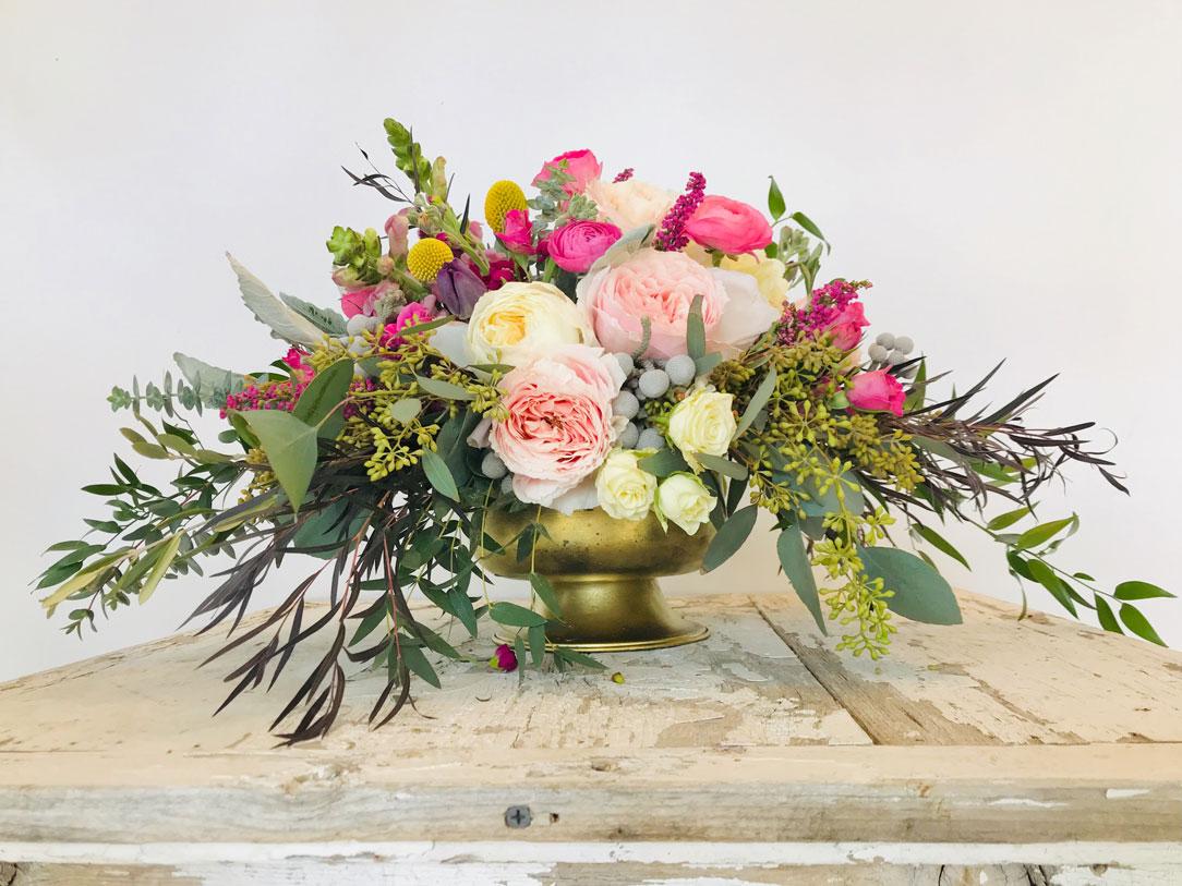 Elegant Garden Roses and Ranunculus